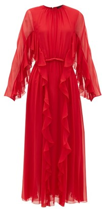 Giambattista Valli Ruffled Silk-chiffon Midi Dress - Red
