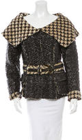 Oscar de la Renta Belted Faux Leather Jacket
