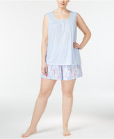 Charter Club Plus Size Tank Top And Boxer Shorts Mix-It Pajama Set, Only at Macy's