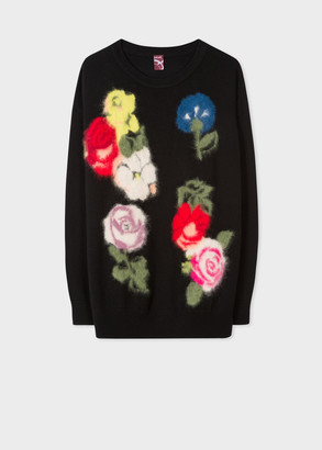 Paul Smith Women's Black 'Archive Rose' Jacquard Sweater