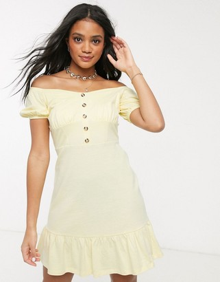 ASOS DESIGN cupped off the shoulder tiered mini dress in lemon