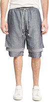 Mostly Heard Rarely Seen Dissociative Drawstring Shorts, Blue