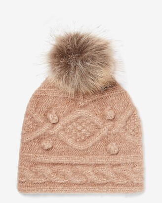 Express Cozy Cable Knit Pom Beanie