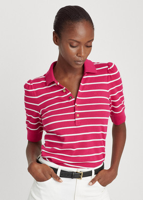 Ralph Lauren Striped Puff-Sleeve Polo Shirt