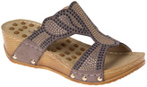 Taupe Stud Strappy Wedge Slide