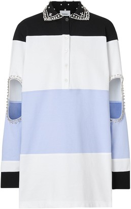 Burberry Crystal and Cut-out Detail Cotton Oversized Polo Shirt