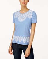 Alfred Dunner Long Weekend Embroidered Cutouts Top