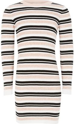 River Island Girls pink stripe fitted knit jumper dress