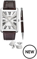 Limit Limit Silver Tone With Brown Croco Effect Strap And Silver Sunray Dial Mens Watch With Matching Silver Tone Pen And Cufflinks.
