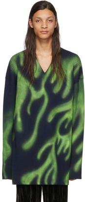 Balenciaga Navy Flames V-Neck Sweater