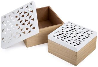 """Ctg Brands Inc. Decorative Cut-out Wooden Storage Box, 2-Piece Set, 7.75""""x4.5""""x7.75"""","""