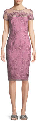 David Meister Strapless Illusion Dress w/ Embroidery