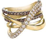 LeVian Chocolatier Gladiator Weave Chocolate Diamond, Vanilla Diamond and 14K Honey Gold Ring