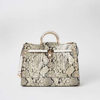 River Island Beige snake print studded cut out tote bag