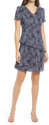 Connected Apparel Crosshatch Tiered Plisse Dress