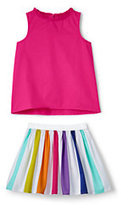 Lands' End Girls 2 Piece Pleated Woven Set-Rainbow Foil Hearts