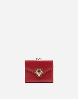 Dolce & Gabbana French Flap Devotion Wallet In Calfskin