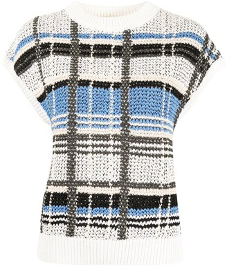 Coohem Madras-Check Knit Vest