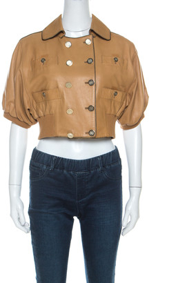 Dolce & Gabbana Camel Brown Short Sleeve Cropped Leather Jacket M