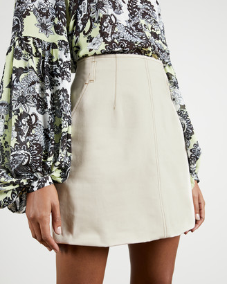 Ted Baker BORBUN Ecru mini denim skirt