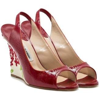 Manolo Blahnik Red Leather Sandals