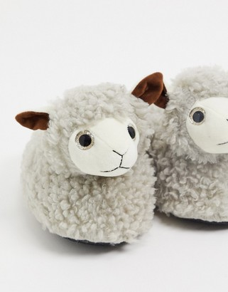 Loungeable fluffly sheep slippers in biege