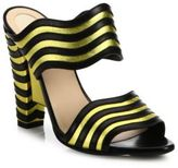 Fendi Waves Striped Leather Mules