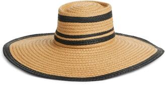 Halogen Flat Top Floppy Straw Hat
