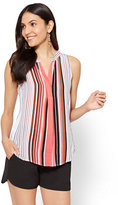 New York & Co. 7th Avenue - Hi-Lo Split-Neck Blouse - Stripe