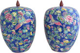 One Kings Lane Vintage Tall Chinoiserie Butterfly Jars, Pair