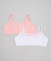 Laura Ashley White & Candy Pink Bra Set - Girls