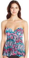 Christina Women's Desert Praise Flare Bandeau Tankini with Molded Underwire Cups