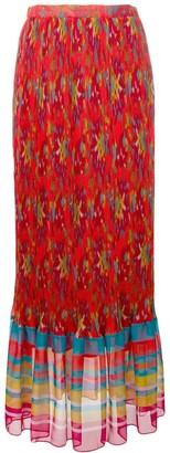 Twin-Set Printed Plisse Maxi Skirt