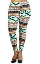Always Womens Junior Plus Stretch Aztec Stripe Print Leggings Teal Multi