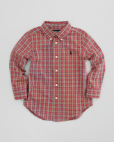 Ralph Lauren Blake Long-Sleeve Plaid Poplin Shirt, Red Multi, Sizes 2-3
