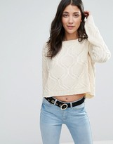 Raga Durango Cropped Cable Knit Sweater