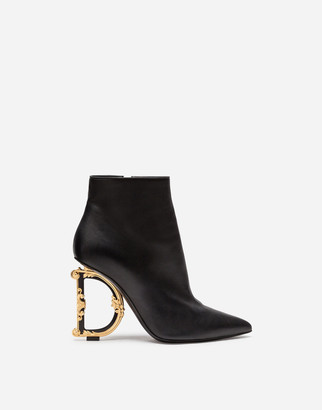 Dolce & Gabbana Nappa Leather Booties With Baroque Heel
