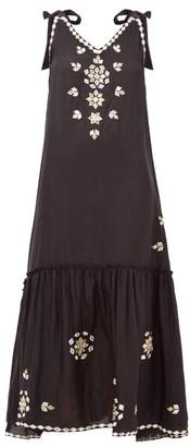 Juliet Dunn Mirror-embellished Silk Dress - Black