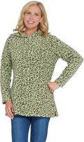 Denim & Co. Petite Animal Print Fleece Tunic w/ Hood and Pockets