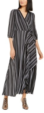 INC International Concepts Inc Volume-Sleeve Striped Wrap Maxi Dress, Created for Macy's