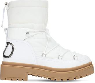 Valentino 40mm Nylon & Leather Snow Boots