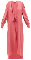 Adriana Degreas Tie-front Silk Robe - Womens - Pink