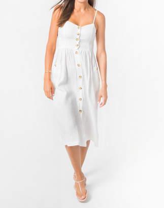 Madewell Lanhtropy Linen Cactus Button-Front Midi Dress
