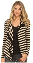 Velvet by Graham & Spencer Violetta03 Cozy Jersey Stripe Cardigan