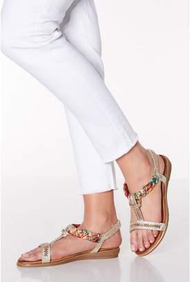 Quiz Comfort Gold Diamante Pleat Sandals