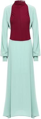 Victoria Beckham Two-tone Knit-paneled Silk Crepe De Chine Turtleneck Maxi Dress
