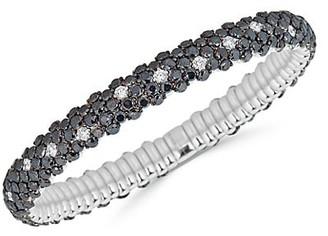Zydo Stretch 18K White Gold, Black White Diamond Bracelet