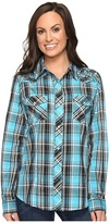 Roper 0651 Turquoise Plaid Embroidery Shirt