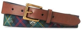 Polo Ralph Lauren Web Motif Tab Front Leather-Blend Belt