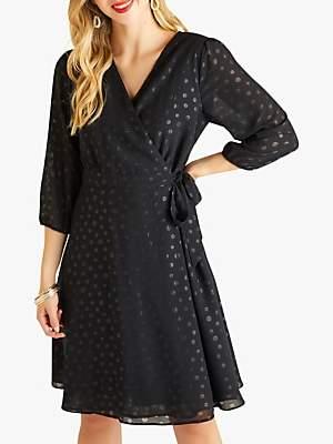 Yumi Spot Print Wrap Dress, Black